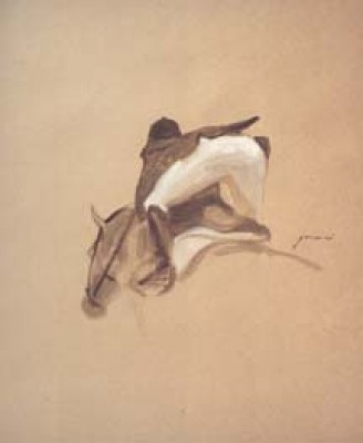 """McLain Ward On Galant"" oil on paper, 17 x 14 inches"