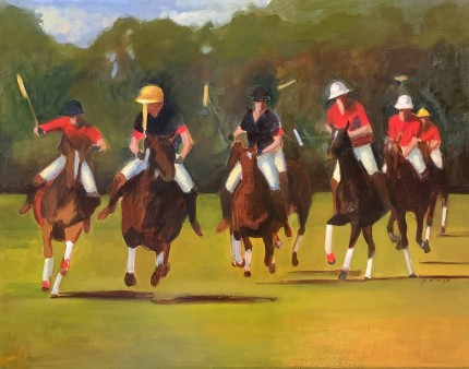 """Polo Grounds"" Oil on canvas mounted on panel, 23 x 29.5 inches, Signed"