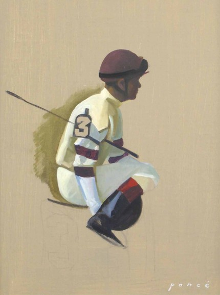 """Jockey #3"" 2005, Oil on canvas, 14 x 11 inches"