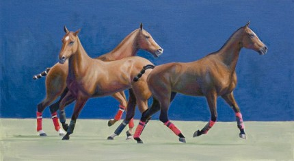 """String 33"" 2009, Oil on panel, 12 x 22.5 inches, Signed"