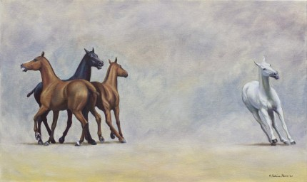 """String 3"" 2007, Oil on canvas, 18 x 30 inches, Signed"