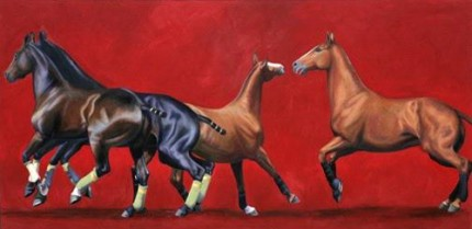 """String 7"" 2007, Oil on canvas, 26 x 72 inches, Signed"