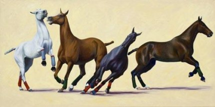 """String 8"" 2007, Oil on canvas, 36 x 72 inches, Signed"
