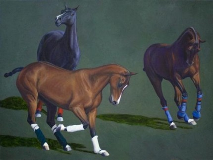 """String 9"" 2007, Oil on canvas, 36 x 72 inches, Signed"
