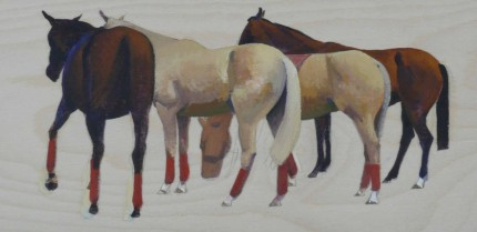 """Polo Ponies"" 2006, Oil on panel, 6 x 12 inches"