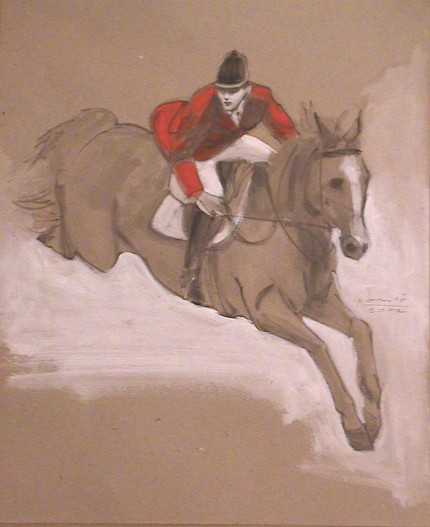 """Red Coat Jumping"" 2002, oil on paper, 17 x 14 inches"