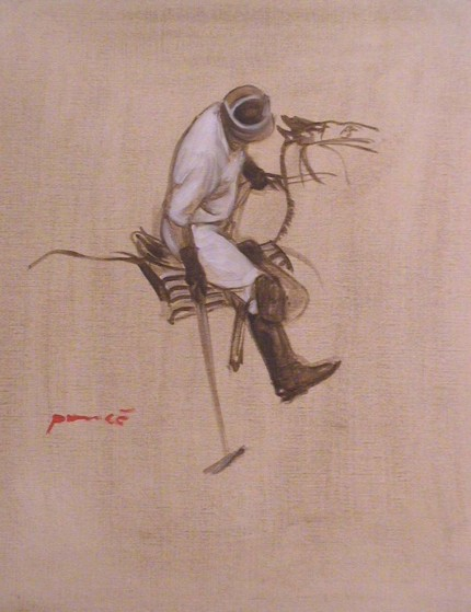 """White Shirt Striking"" 2002, oil on paper, 16 x 12 inches"
