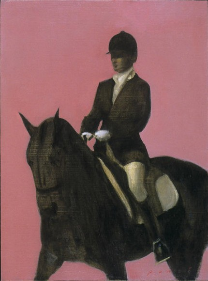"""Rider With Pink Background"" 2003, oil on linen mounted on panel, 16 x 12 inches"