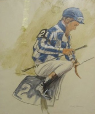 """Ron Turcotte, Up (Colors of Meadow Stable)"" Charcoal & Oil on paper, 26 x 31.5 inches, Signed lower right, Stamped: Wildenstein & Co., LTD, 147 New Bond Street, London, W.1. Exhibition: Sporting Paintings & Drawings, October, 1973. Another Stamp is from Ackerman & Sons"
