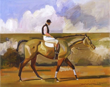 """After the Race, Cheltenham"" Study of Sir Alfred J. Munnings, 2004, Oil on canvas, 16 x 20 inches, Inscribed and Signed"