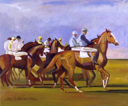 """The Start of The Cambridgeshire at Newmarket"" Study of Sir Alfred J. Munnings, Oil on canvas, 20 x 24 inches, Signed and inscribed"