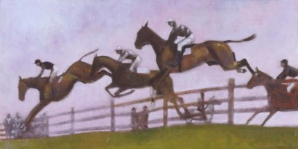 """Steeplechase"" 2004, oil on panel, 12.75 x 24.75 inches"