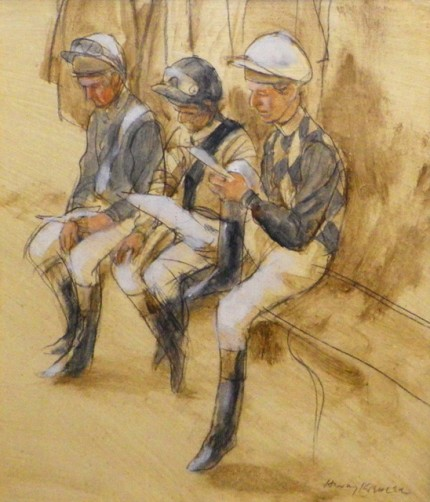 """Three Jockeys waiting at Deauville"" 1987, Oil on paper, 11.5 x 10.5 inches, 19 x 17 inches, Signed lower right"