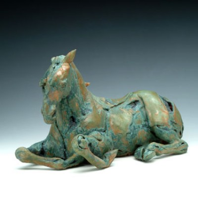 """""""Lying down"""" Glazed clay with a bronze oxide wash, 17 x 8 x 11 inches, Signed"""