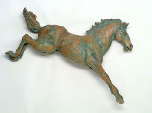 """""""Off the Wall"""" Glazed clay with a copper oxide wash, 27 x 6 x 17 inches, Signed"""
