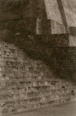 """""""Stairway to Plaza Central (Edzná)"""" Toned gelatin silver print, 9 x 6 inches, Signed & Matted"""