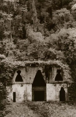"""""""Temple of the Foliated Cross (Palenque)"""" Toned gelatin silver print, 9 x 6 inches, Signed & Matted"""
