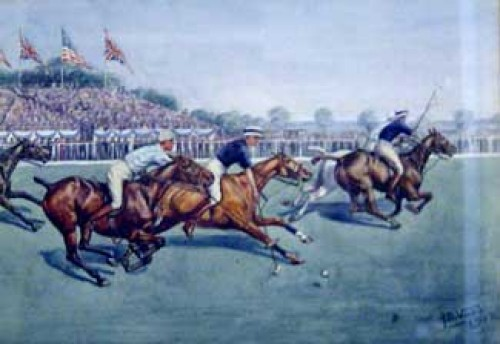 """Polo"" Original Watercolour, Signed & Dated: 1912, Provenance: Arthur Ackermann & Son"