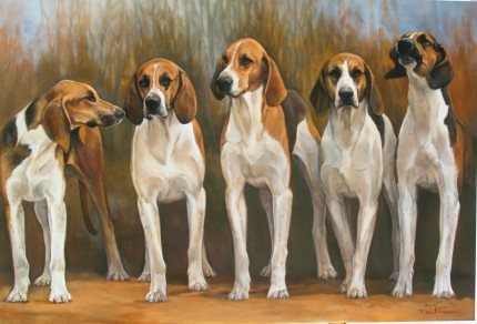 """French Hounds"" Oil on panel, 24 x 36 inches, Signed"