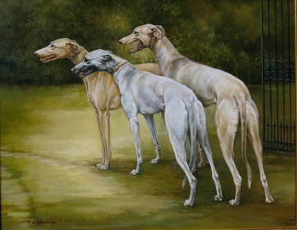 """Greyhounds"" Oil on panel, 22 x 28 inches, Signed"