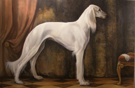 """The Aristocrat - Saluki"" Oil on panel, 24 x 36 inches, Signed"