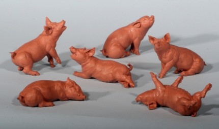 """Party of Pigs"" Clay for Bronze, Edition of 75, 3 to 4 inches, Signed"