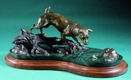 """Jack Russell Terrier Fishing"" Bronze, Edition of 25, 23 x 14 x 17 inches, Signed"