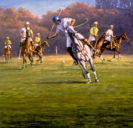 """Polo Backhand"" Oil on canvas, 30 x 30 inches, Signed"