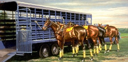 """Polo Ponies"" Oil on canvas, 15 x 30 inches, Signed"