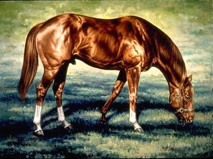 """Secretariat Gazing"" Oil on canvas, 30 x 40 inches, Signed"