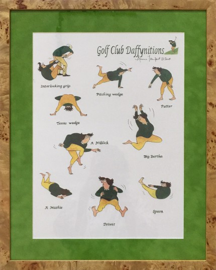 """""""Golf Club Daffynitions"""" Limited edition print, 16.5 x 12 inches, 22 x 17.5 inches, Signed upper right"""