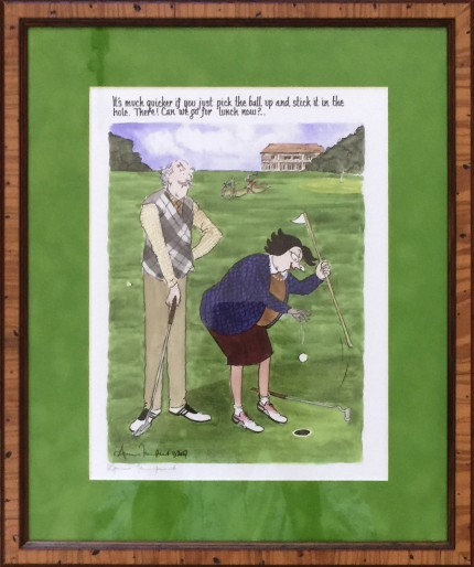 """""""It's much quicker if you just pick the ball up and stick it in the hole. There! Can we go for lunch now?"""" Limited edition print, 11.5 x 8.5 inches, 16.5 x 13.5 inches, Signed lower right"""