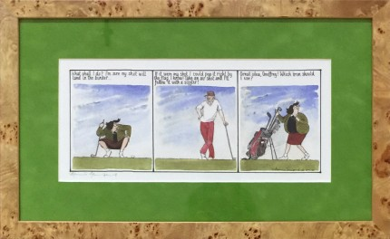 """""""'What shall I do? I'm sure my shot will land in the bunker...' 'If it were my shot, I could pop it right by the flag I know! Take an air shot and I'll follow it with a sizzler!' 'Great idea, Geoffrey! Which iron should I use?'"""" Limited edition print, 5.5 x 12.5 inches, 10.5 x 17.5 inches, Signed lower left"""