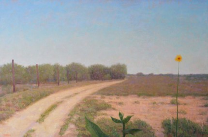 """Cage Road with Yellow Flower, Looking North"" 2011, Oil on linen, 32 x 48 inches, Signed"