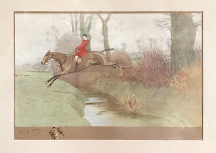 """Huntsman Jumping"" Chromolithograph, 16 x 23.5 inches, 25 x 33 inches, Signed with remarque"