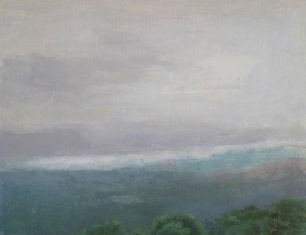 """Grandfather Mountain, Cloudy Morning"" 2013, Oil on linen, 14 x 18 inches, Signed"