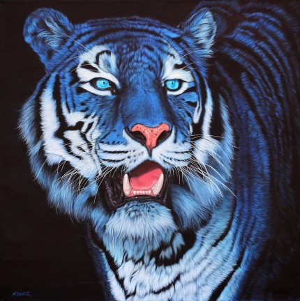 """Blue Tiger on Black"" Archival pigment print on watercolor paper, 24 x 24 inches, Edition of 24, Signed and numbered, Embossed with studio seal of Certificate of Authenticity"