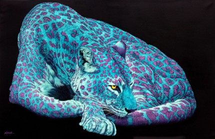 """Light Blue Leopard with Pink Spots"" Archival pigment print on watercolor paper, 32 x 48 inches, Edition of 24, Signed and numbered, Embossed with studio seal of Certificate of Authenticity"