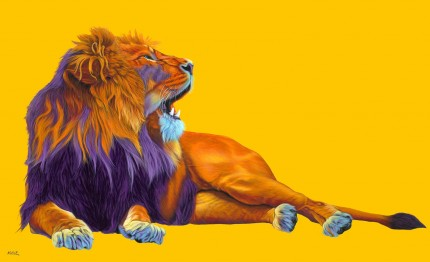 """Orange Lion on Yellow"" Archival pigment print on watercolor paper, 32 x 50 inches, Edition of 24, Signed and numbered, Embossed with studio seal of Certificate of Authenticity"