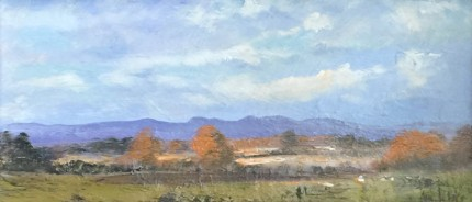 """""""Across the Valley"""" Oil on canvas, 6 x 12 inches, Signed lower right"""