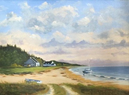 """""""Bretagne Cottages"""" Oil on canvas, 18 x 24 inches, Signed"""