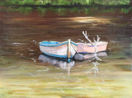 """""""Double Mooring"""" Oil on panel, 12 x 16 inches, Signed lower left"""