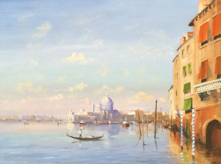 """""""Entering The Grand Canal"""" Oil on canvas, 18 x 24 inches, Signed lower right"""
