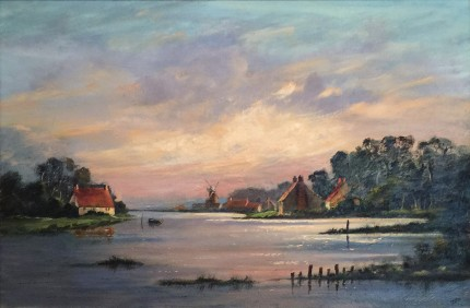 """""""Flemish Coastal Scene"""" Oil on canvas, 24 x 36 inches, 34 x 47 x 3 inches, Signed lower right"""