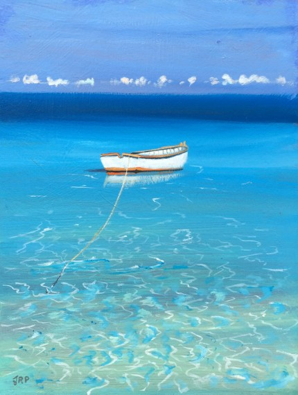 """""""In the Shallows"""" Oil on panel, 16 x 12 inches, Signed lower left"""