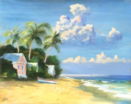"""""""Island Paradise"""" Oil on canvas, 16 x 20 inches, Signed lower left"""