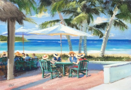 """""""Ladies Luncheon by the Sea"""" Oil on panel, 12 x 16 inches, Signed lower left"""