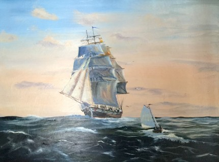 """""""Pilot Cutter"""" Oil on panel, 18 x 24 inches, Signed"""