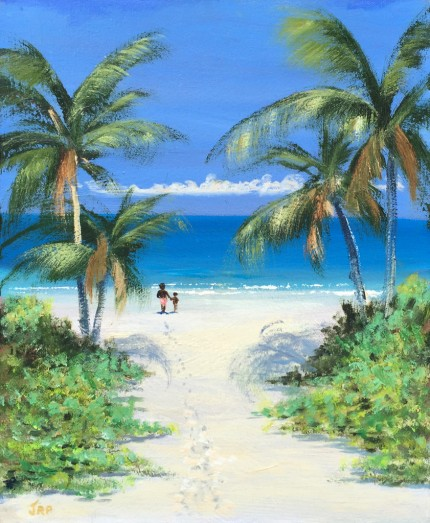 """""""Stroll to Paradise"""" Oil on panel, 16 x 12 inches, Signed lower left"""