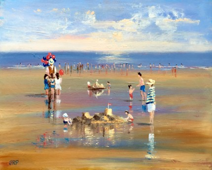 """""""Sundays by the Sea"""" Oil on panel, 12 x 16 inches, Signed lower left"""